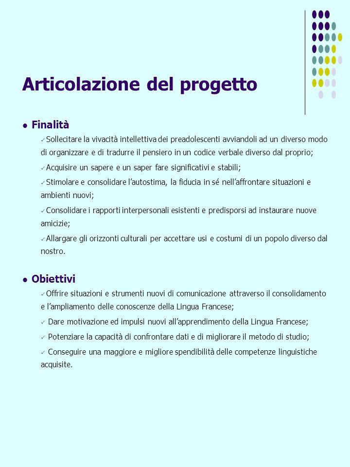 Articolazione del progetto Finalità Sollecitare la vivacità intellettiva dei preadolescenti avviandoli ad un diverso modo di organizzare e di tradurre
