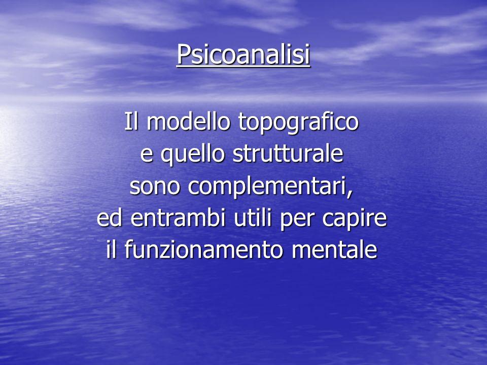 Psicoanalisi Il modello topografico e quello strutturale sono complementari, ed entrambi utili per capire il funzionamento mentale