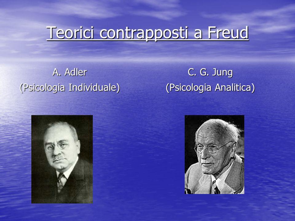 A. Adler (Psicologia Individuale) C. G. Jung (Psicologia Analitica) Teorici contrapposti a Freud