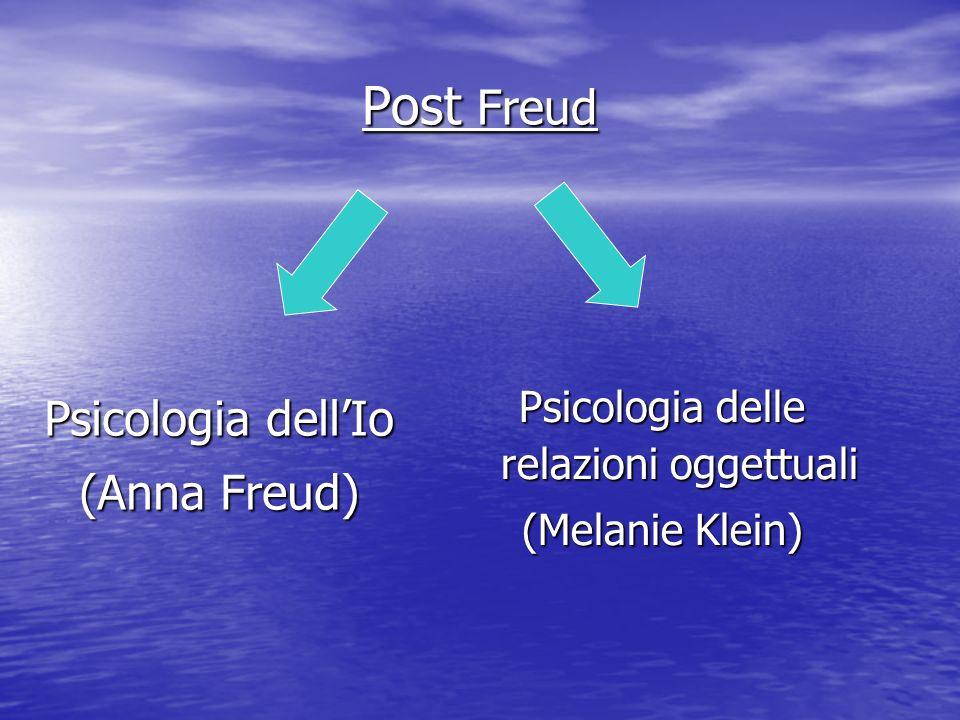 Psicologia dellIo (Anna Freud) Psicologia delle relazioni oggettuali (Melanie Klein) Post Freud
