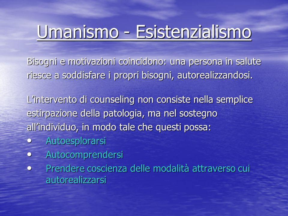 Umanismo - Esistenzialismo Bisogni e motivazioni coincidono: una persona in salute riesce a soddisfare i propri bisogni, autorealizzandosi. Lintervent