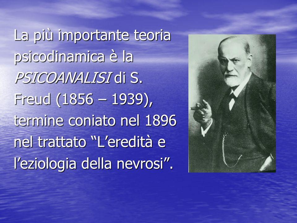 La più importante teoria psicodinamica è la PSICOANALISI di S. Freud (1856 – 1939), termine coniato nel 1896 nel trattato Leredità e leziologia della
