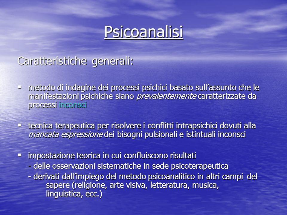 Psicoanalisi Caratteristiche generali: metodo di indagine dei processi psichici basato sullassunto che le manifestazioni psichiche siano prevalentemen