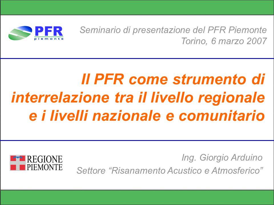 Il PFR come strumento di interrelazione tra il livello regionale e i livelli nazionale e comunitario Seminario di presentazione del PFR Piemonte Torin