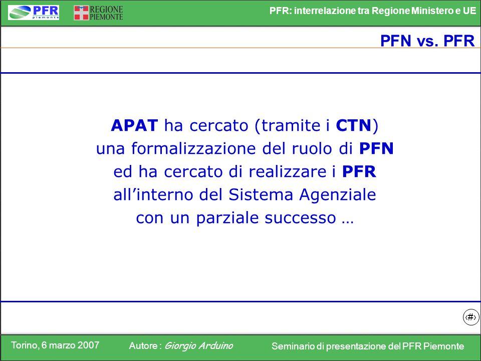 Torino, 6 marzo 2007 Autore : Giorgio Arduino Seminario di presentazione del PFR Piemonte PFR: interrelazione tra Regione Ministero e UE 10 PFN vs. PF