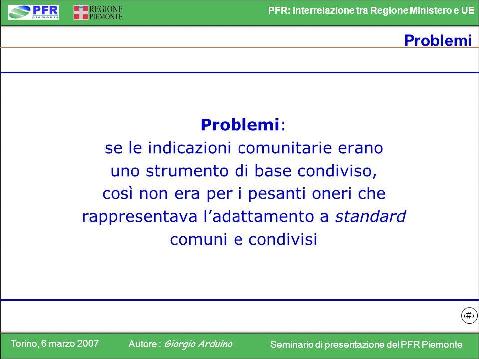 Torino, 6 marzo 2007 Autore : Giorgio Arduino Seminario di presentazione del PFR Piemonte PFR: interrelazione tra Regione Ministero e UE 14 Problemi P