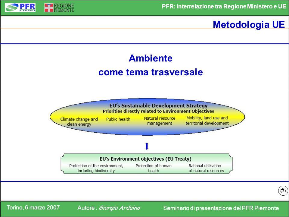 Torino, 6 marzo 2007 Autore : Giorgio Arduino Seminario di presentazione del PFR Piemonte PFR: interrelazione tra Regione Ministero e UE 2 Metodologia