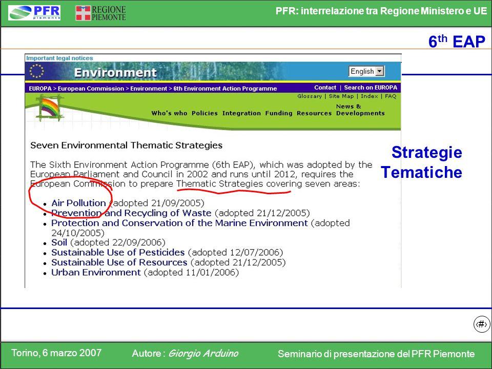 Torino, 6 marzo 2007 Autore : Giorgio Arduino Seminario di presentazione del PFR Piemonte PFR: interrelazione tra Regione Ministero e UE 3 6 th EAP St