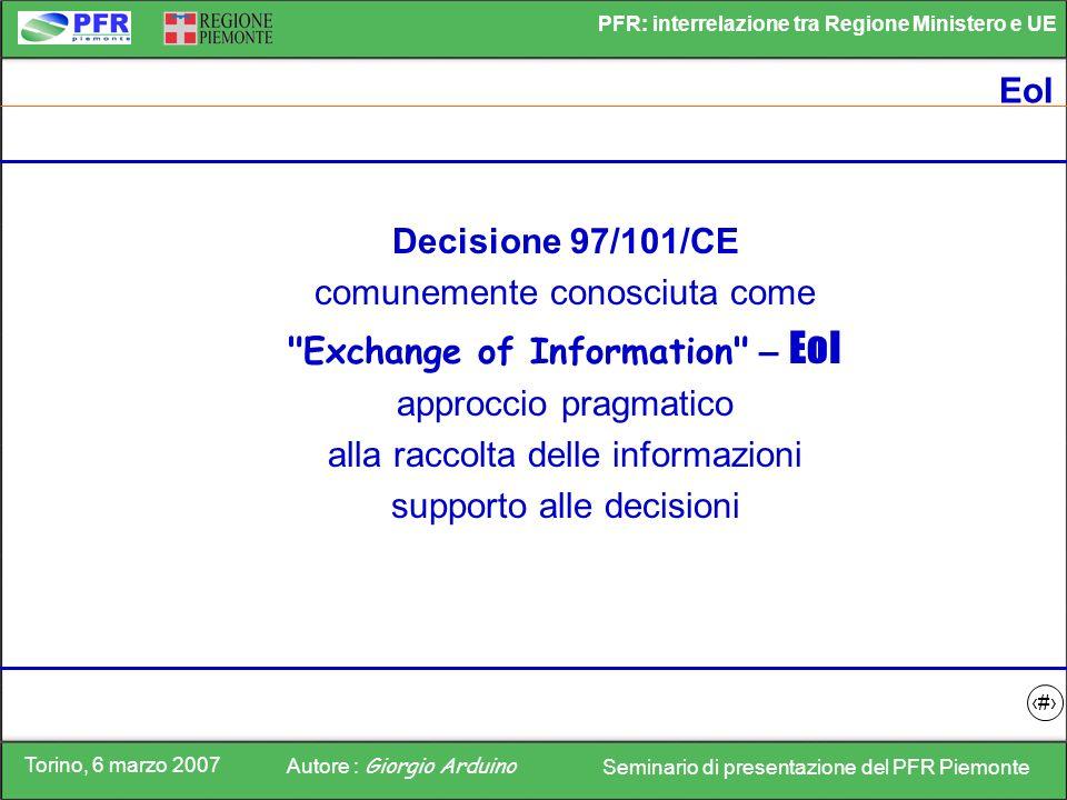 Torino, 6 marzo 2007 Autore : Giorgio Arduino Seminario di presentazione del PFR Piemonte PFR: interrelazione tra Regione Ministero e UE 4 EoI Decisio