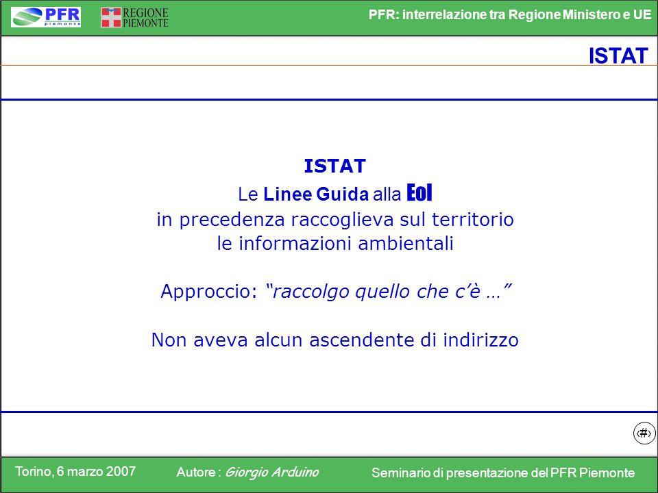 Torino, 6 marzo 2007 Autore : Giorgio Arduino Seminario di presentazione del PFR Piemonte PFR: interrelazione tra Regione Ministero e UE 6 ISTAT Le Li