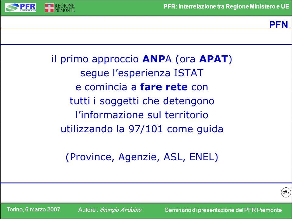 Torino, 6 marzo 2007 Autore : Giorgio Arduino Seminario di presentazione del PFR Piemonte PFR: interrelazione tra Regione Ministero e UE 8 PFN il prim