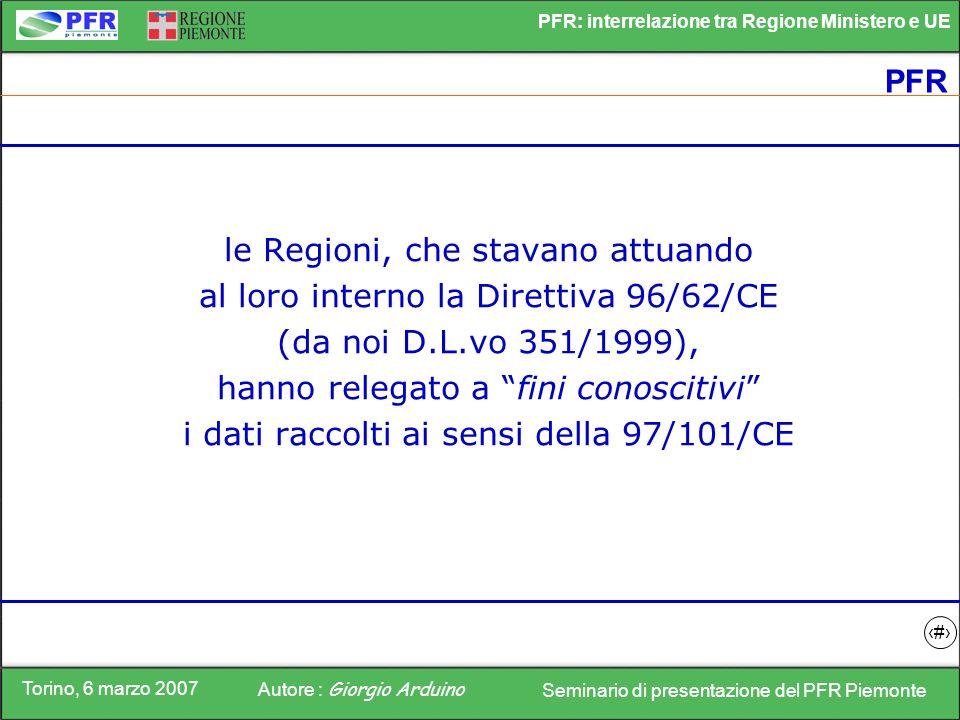 Torino, 6 marzo 2007 Autore : Giorgio Arduino Seminario di presentazione del PFR Piemonte PFR: interrelazione tra Regione Ministero e UE 9 PFR le Regi