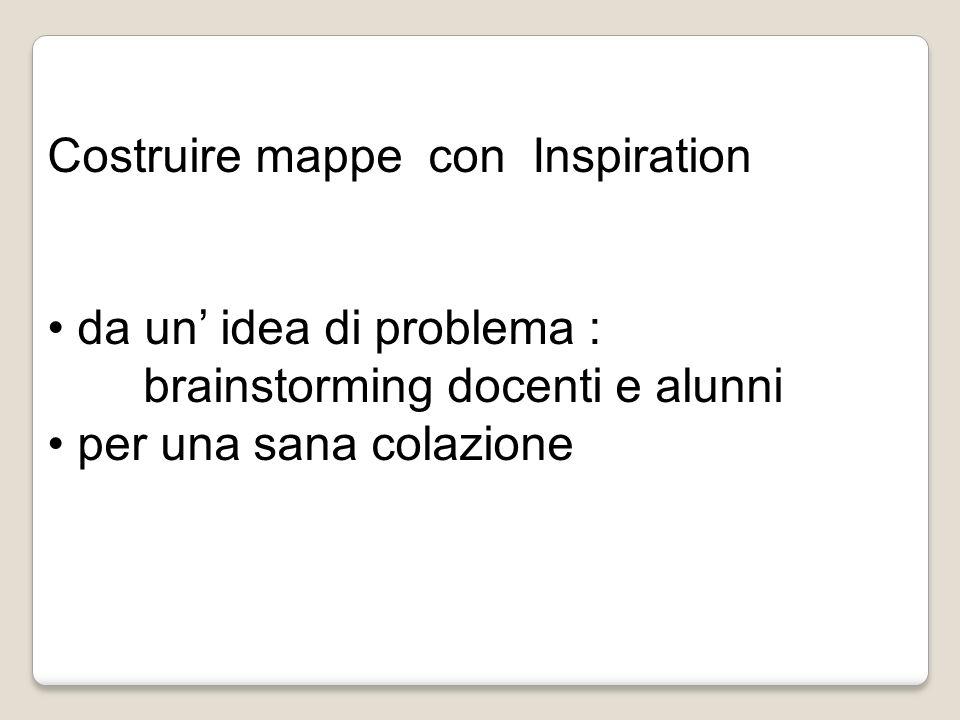 Costruire mappe con Inspiration da un idea di problema : brainstorming docenti e alunni per una sana colazione