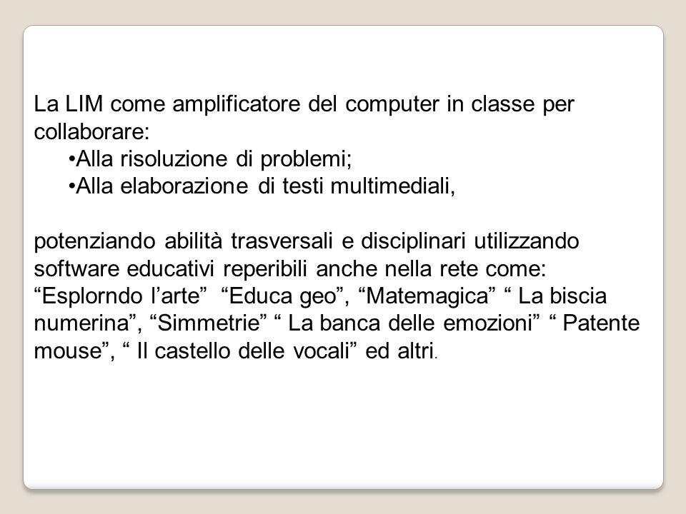 La LIM come amplificatore del computer in classe per collaborare: Alla risoluzione di problemi; Alla elaborazione di testi multimediali, potenziando a