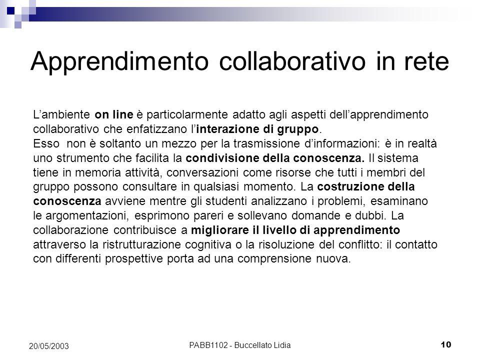 PABB1102 - Buccellato Lidia10 20/05/2003 Lambiente on line è particolarmente adatto agli aspetti dellapprendimento collaborativo che enfatizzano linte