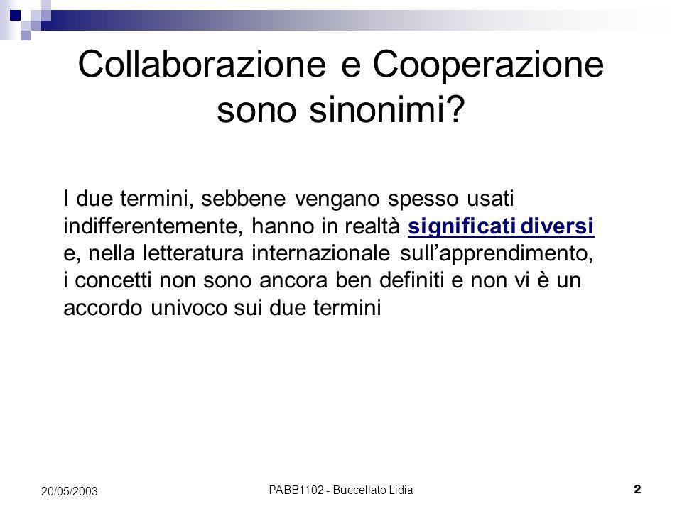 PABB1102 - Buccellato Lidia2 20/05/2003 Collaborazione e Cooperazione sono sinonimi? I due termini, sebbene vengano spesso usati indifferentemente, ha
