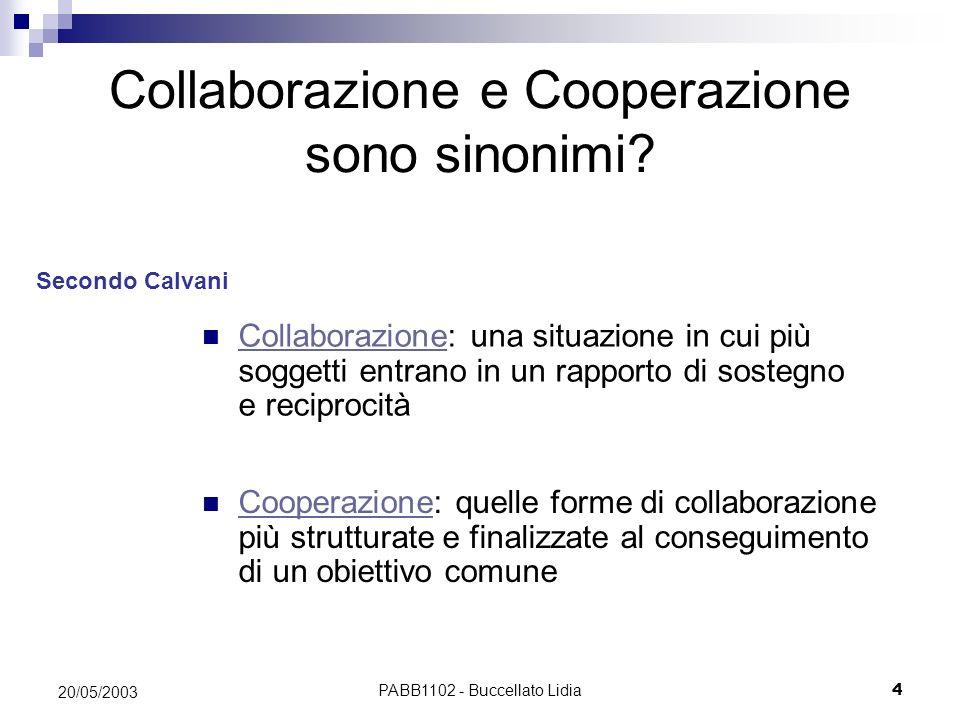 PABB1102 - Buccellato Lidia4 20/05/2003 Collaborazione e Cooperazione sono sinonimi? Cooperazione: quelle forme di collaborazione più strutturate e fi