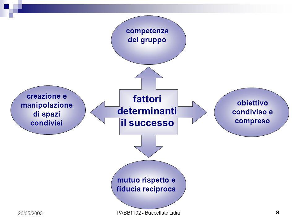 PABB1102 - Buccellato Lidia8 20/05/2003 fattori determinanti il successo competenza del gruppo creazione e manipolazione di spazi condivisi obiettivo
