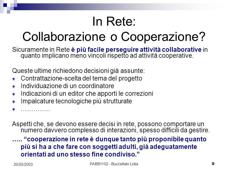 PABB1102 - Buccellato Lidia10 20/05/2003 Lambiente on line è particolarmente adatto agli aspetti dellapprendimento collaborativo che enfatizzano linterazione di gruppo.