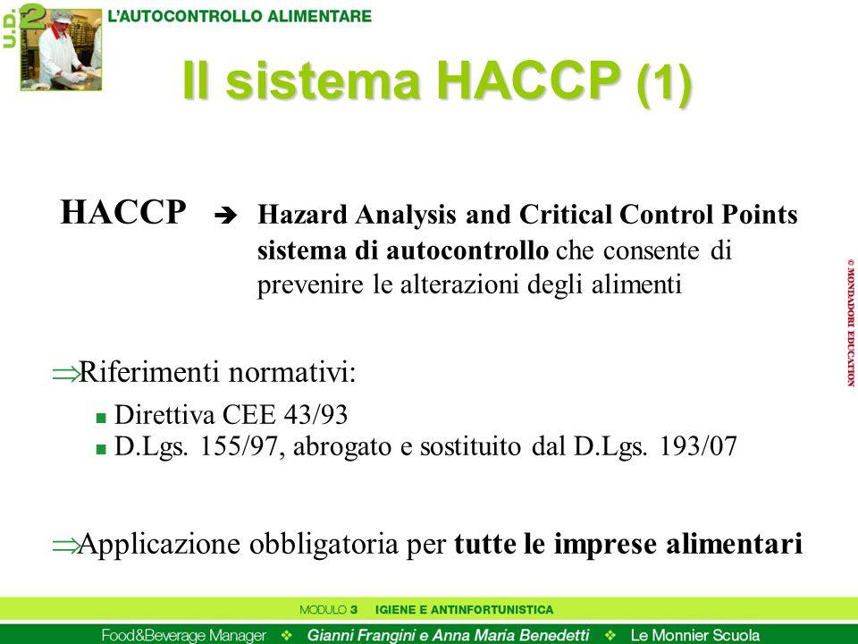 HACCP Hazard Analysis and Critical Control Points sistema di autocontrollo che consente di prevenire le alterazioni degli alimenti Il sistema HACCP (1