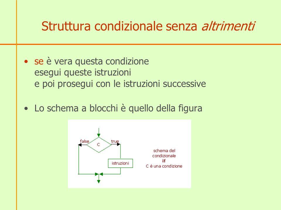 Struttura condizionale senza altrimenti se è vera questa condizione esegui queste istruzioni e poi prosegui con le istruzioni successive Lo schema a b
