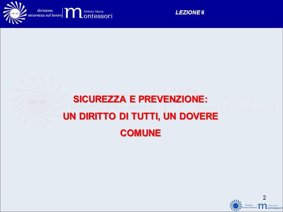 LEZIONE 6 SICUREZZA E PREVENZIONE: UN DIRITTO DI TUTTI, UN DOVERE COMUNE 2