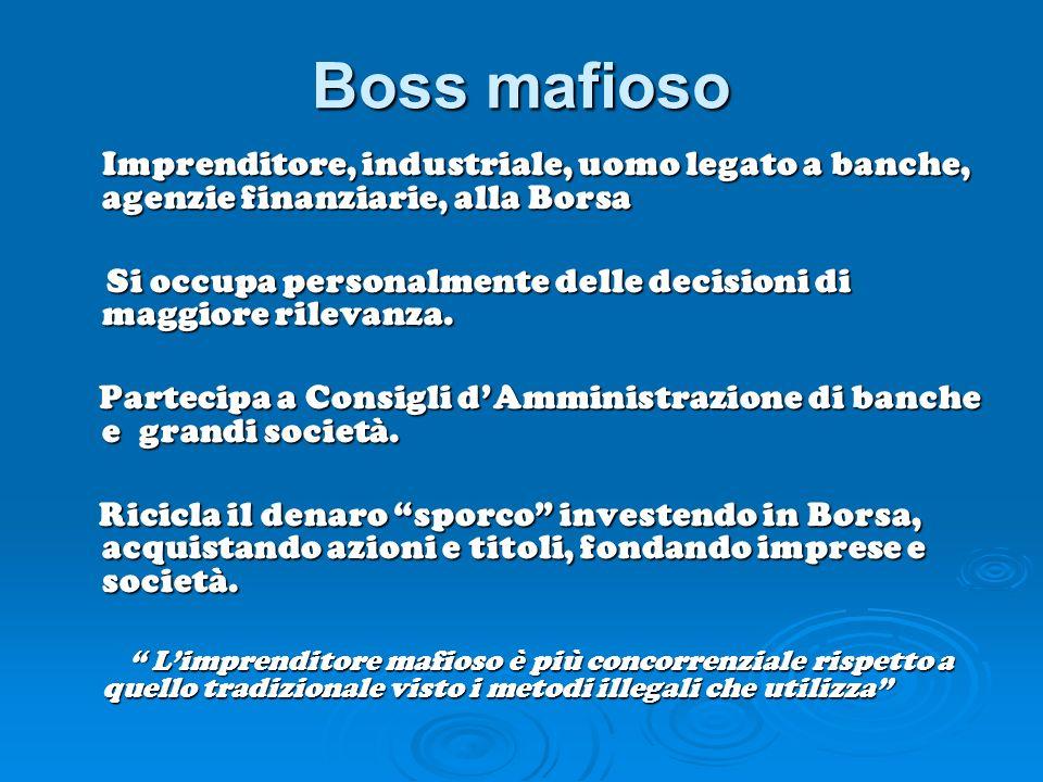Boss mafioso Imprenditore, industriale, uomo legato a banche, agenzie finanziarie, alla Borsa Si occupa personalmente delle decisioni di maggiore rile