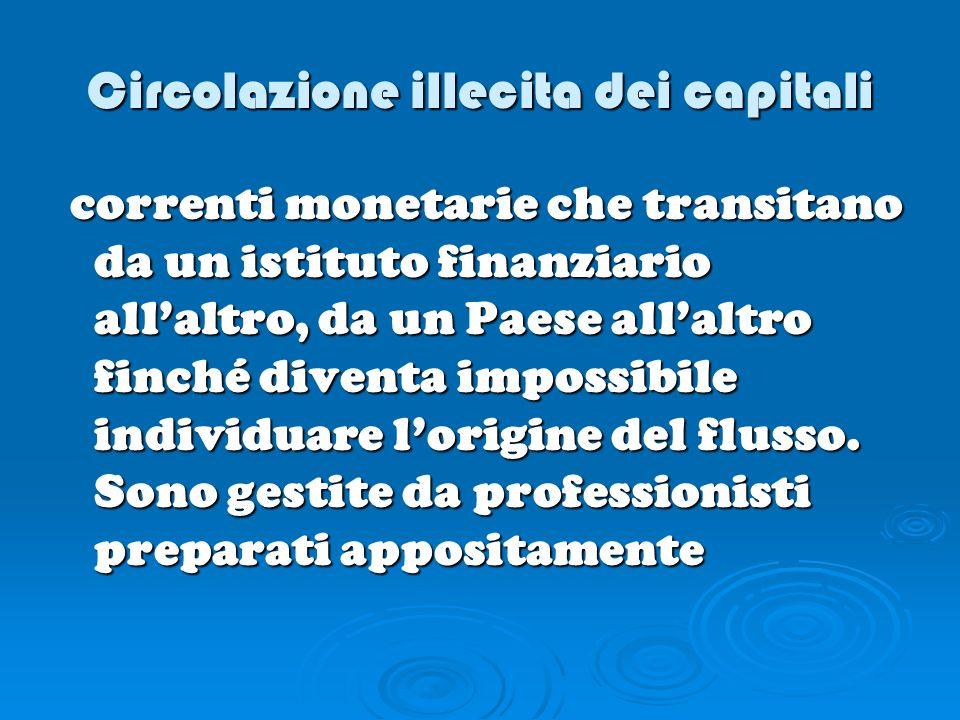 Circolazione illecita dei capitali correnti monetarie che transitano da un istituto finanziario allaltro, da un Paese allaltro finché diventa impossib