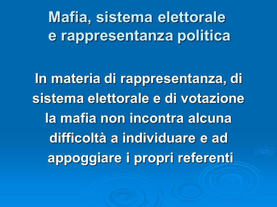 Mafia, sistema elettorale e rappresentanza politica In materia di rappresentanza, di sistema elettorale e di votazione la mafia non incontra alcuna di