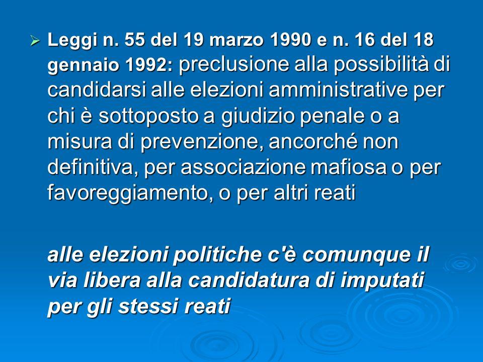 Leggi n. 55 del 19 marzo 1990 e n. 16 del 18 gennaio 1992: preclusione alla possibilità di candidarsi alle elezioni amministrative per chi è sottopost