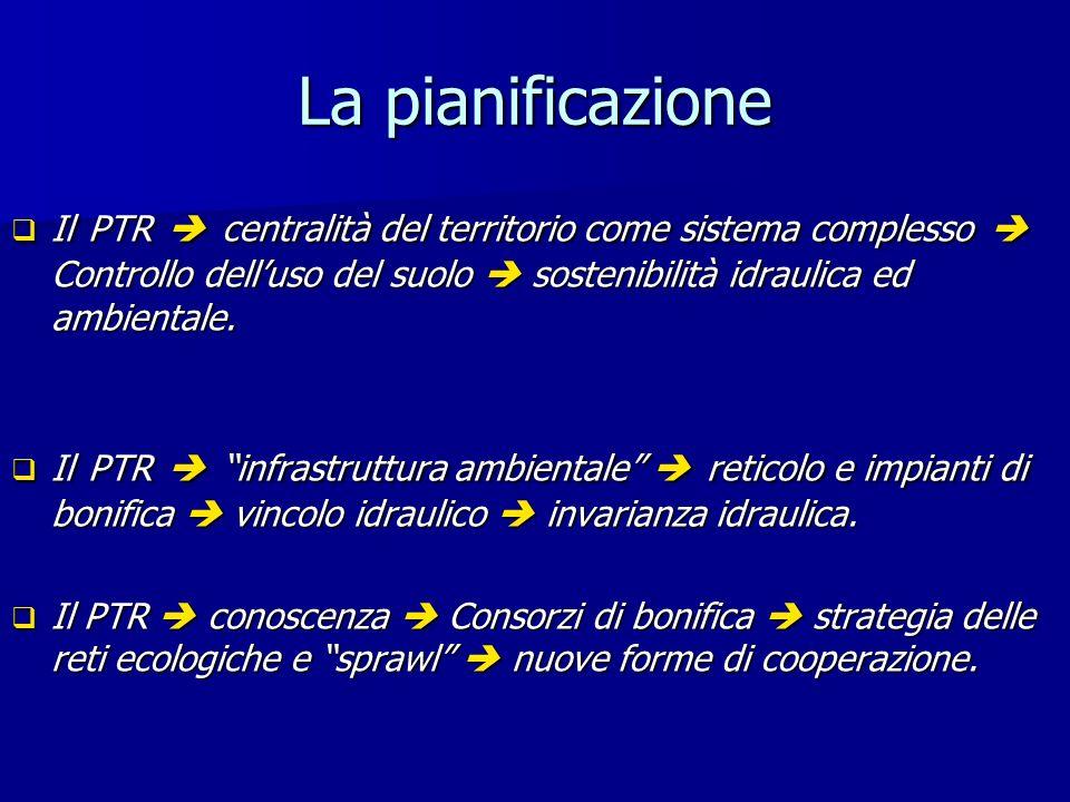 La pianificazione Il PTR centralità del territorio come sistema complesso Controllo delluso del suolo sostenibilità idraulica ed ambientale.