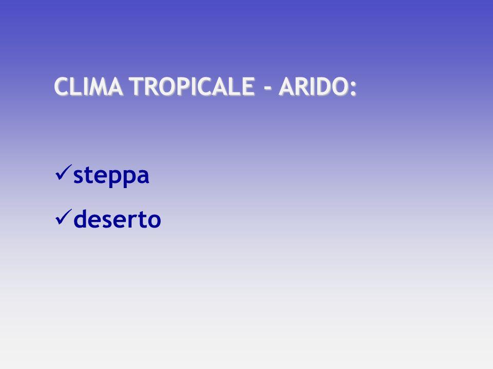 CLIMA TROPICALE - ARIDO: steppa deserto