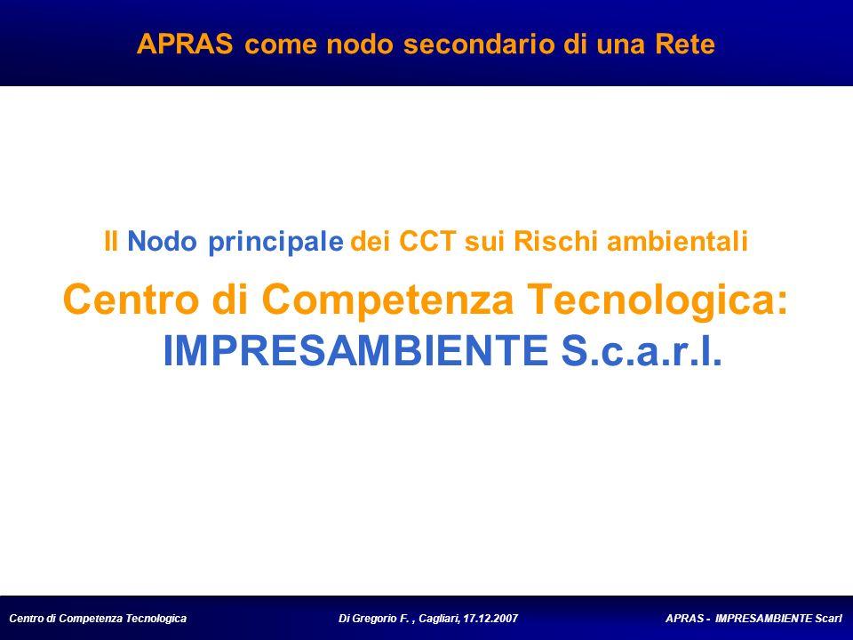 Centro di Competenza Tecnologica Di Gregorio F., Cagliari, 17.12.2007 APRAS - IMPRESAMBIENTE Scarl APRAS come nodo secondario di una Rete Il Nodo principale dei CCT sui Rischi ambientali Centro di Competenza Tecnologica: IMPRESAMBIENTE S.c.a.r.l.