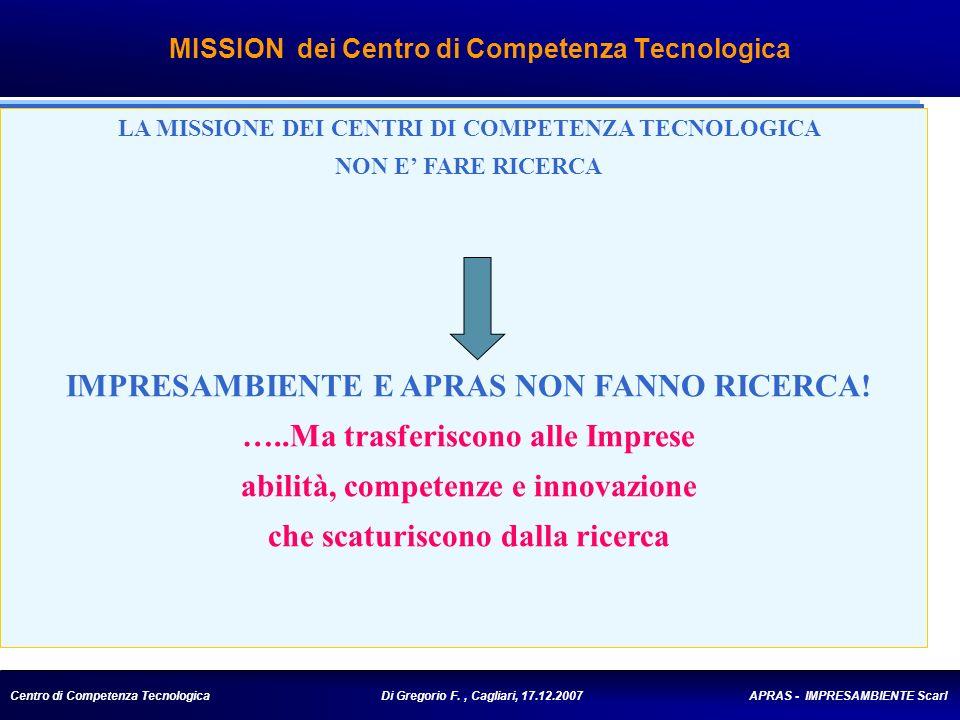 Centro di Competenza Tecnologica Di Gregorio F., Cagliari, 17.12.2007 APRAS - IMPRESAMBIENTE Scarl MISSION dei Centro di Competenza Tecnologica LA MISSIONE DEI CENTRI DI COMPETENZA TECNOLOGICA NON E FARE RICERCA IMPRESAMBIENTE E APRAS NON FANNO RICERCA.