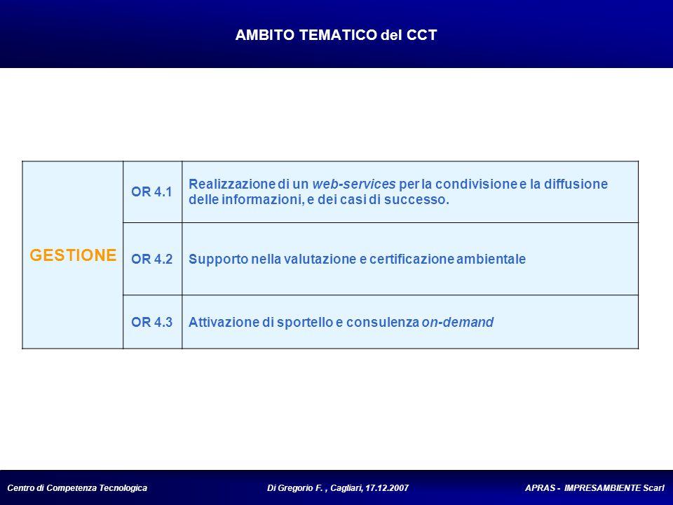 Centro di Competenza Tecnologica Di Gregorio F., Cagliari, 17.12.2007 APRAS - IMPRESAMBIENTE Scarl AMBITO TEMATICO del CCT GESTIONE OR 4.1 Realizzazione di un web-services per la condivisione e la diffusione delle informazioni, e dei casi di successo.