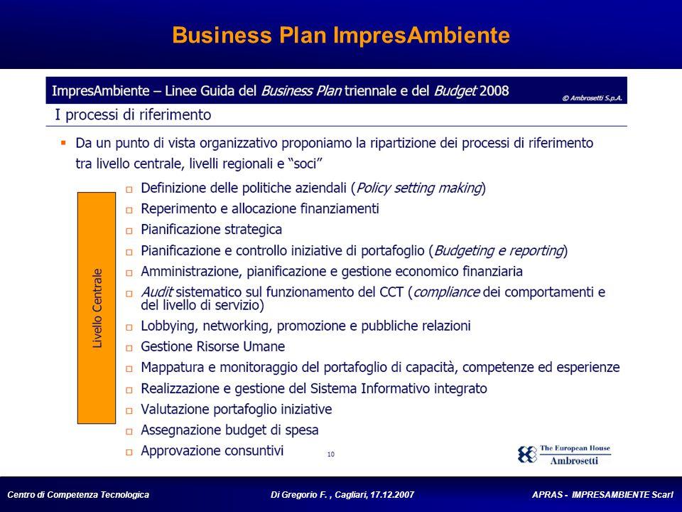 Centro di Competenza Tecnologica Di Gregorio F., Cagliari, 17.12.2007 APRAS - IMPRESAMBIENTE Scarl Business Plan ImpresAmbiente
