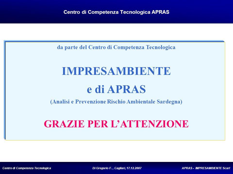 Centro di Competenza Tecnologica Di Gregorio F., Cagliari, 17.12.2007 APRAS - IMPRESAMBIENTE Scarl Centro di Competenza Tecnologica APRAS da parte del Centro di Competenza Tecnologica IMPRESAMBIENTE e di APRAS (Analisi e Prevenzione Rischio Ambientale Sardegna) GRAZIE PER LATTENZIONE