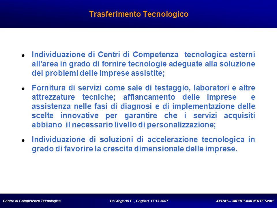 Centro di Competenza Tecnologica Di Gregorio F., Cagliari, 17.12.2007 APRAS - IMPRESAMBIENTE Scarl Trasferimento Tecnologico Individuazione di Centri di Competenza tecnologica esterni all area in grado di fornire tecnologie adeguate alla soluzione dei problemi delle imprese assistite; Fornitura di servizi come sale di testaggio, laboratori e altre attrezzature tecniche; affiancamento delle imprese e assistenza nelle fasi di diagnosi e di implementazione delle scelte innovative per garantire che i servizi acquisiti abbiano il necessario livello di personalizzazione; Individuazione di soluzioni di accelerazione tecnologica in grado di favorire la crescita dimensionale delle imprese.