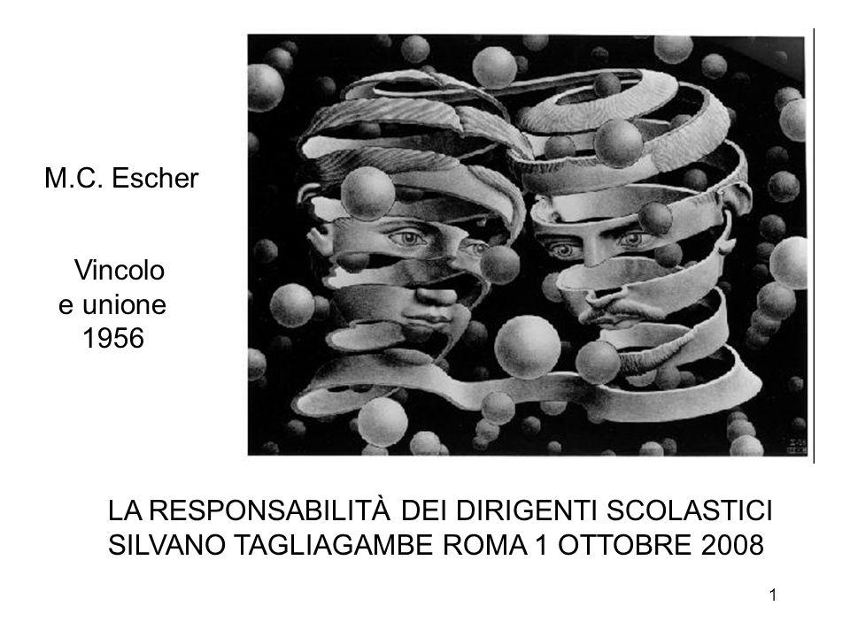 1 Vincolo e unione 1956 M.C. Escher LA RESPONSABILITÀ DEI DIRIGENTI SCOLASTICI SILVANO TAGLIAGAMBE ROMA 1 OTTOBRE 2008