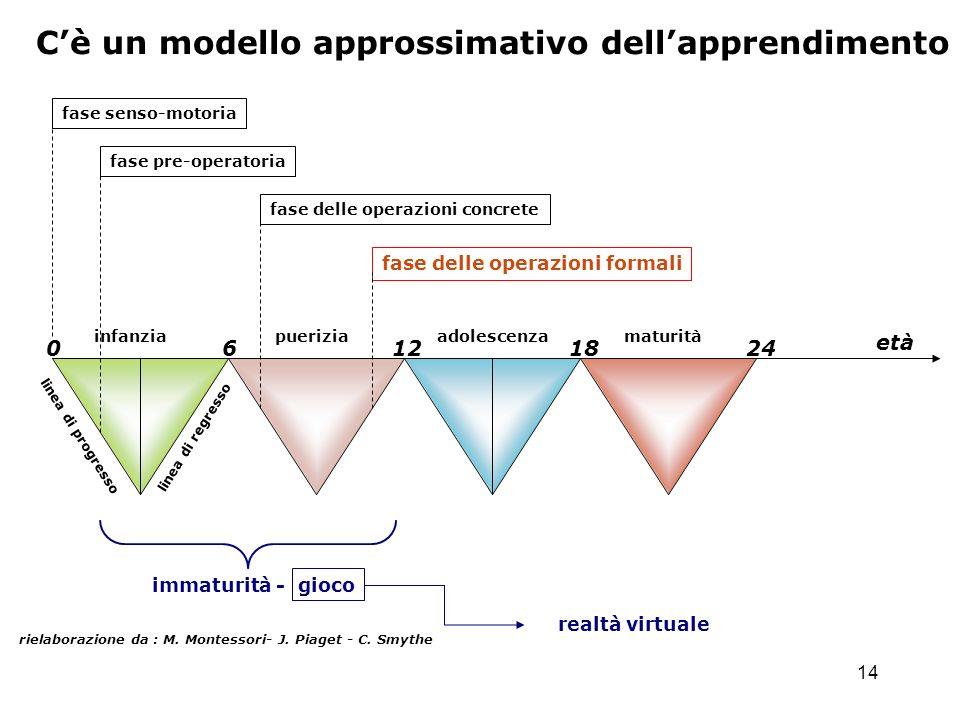 14 Cè un modello approssimativo dellapprendimento rielaborazione da : M. Montessori- J. Piaget - C. Smythe 0 6 12 18 24 infanzia pueriziaadolescenzama