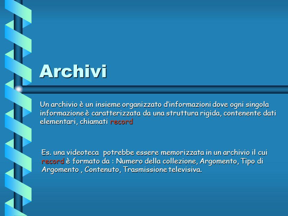 Archivi Un archivio è un insieme organizzato dinformazioni dove ogni singola informazione è caratterizzata da una struttura rigida, contenente dati elementari, chiamati record Es.