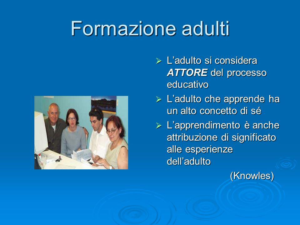 Formazione adulti Ladulto si considera ATTORE del processo educativo Ladulto si considera ATTORE del processo educativo Ladulto che apprende ha un alt