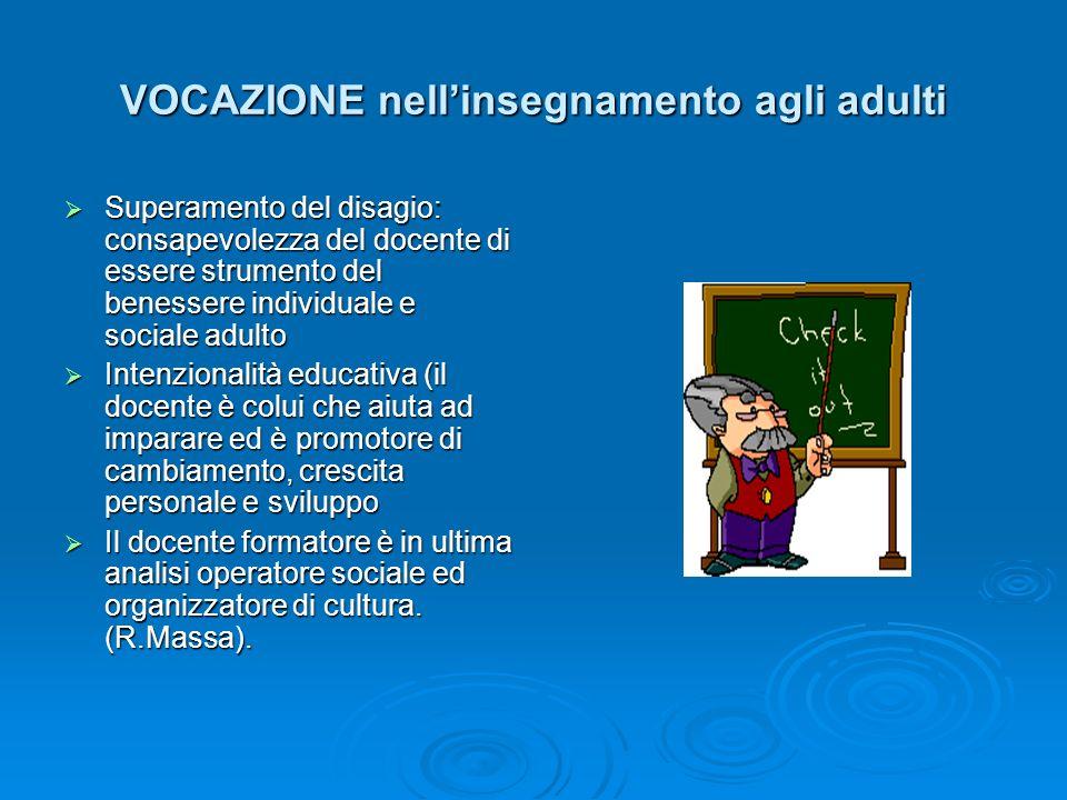 VOCAZIONE nellinsegnamento agli adulti Superamento del disagio: consapevolezza del docente di essere strumento del benessere individuale e sociale adu