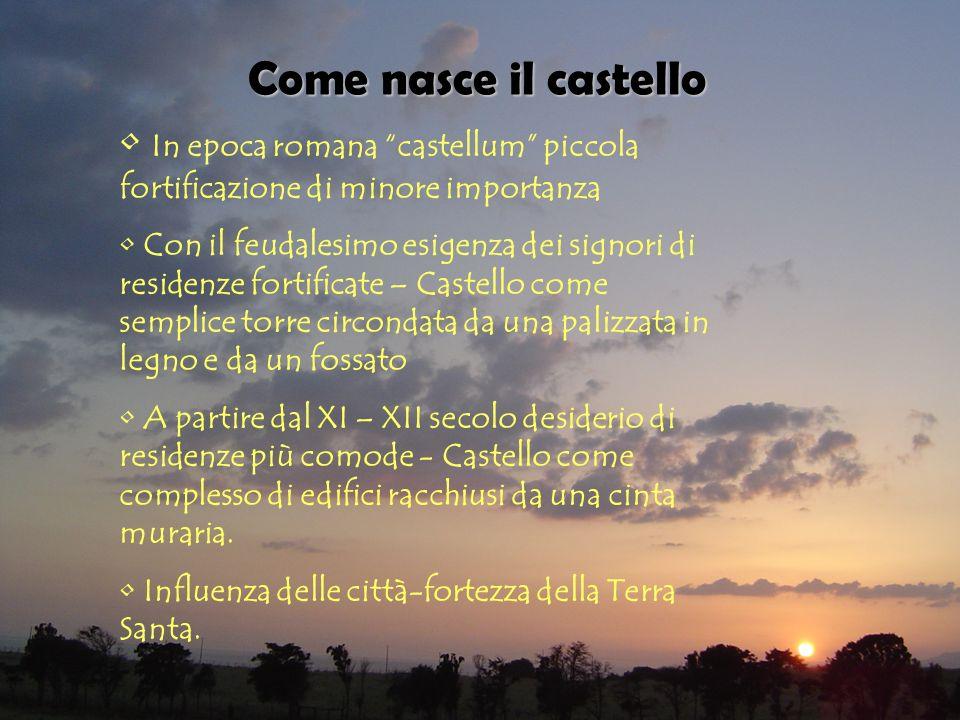 Come nasce il castello In epoca romana castellum piccola fortificazione di minore importanza Con il feudalesimo esigenza dei signori di residenze fort