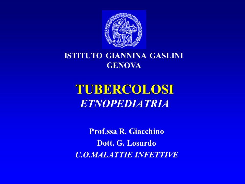 TUBERCOLOSI TUBERCOLOSI ETNOPEDIATRIA Prof.ssa R.Giacchino Dott.