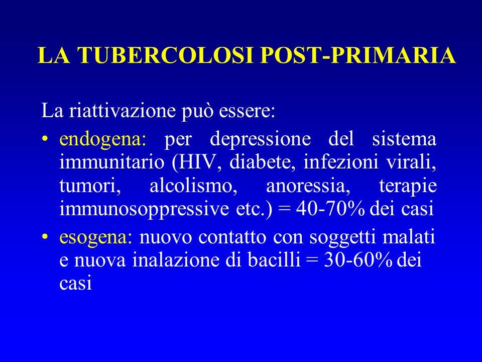 LA TUBERCOLOSI POST-PRIMARIA La riattivazione può essere: endogena: per depressione del sistema immunitario (HIV, diabete, infezioni virali, tumori, alcolismo, anoressia, terapie immunosoppressive etc.) = 40-70% dei casi esogena: nuovo contatto con soggetti malati e nuova inalazione di bacilli = 30-60% dei casi
