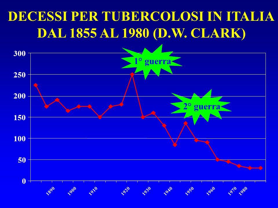 DECESSI PER TUBERCOLOSI IN ITALIA DAL 1855 AL 1980 (D.W. CLARK)
