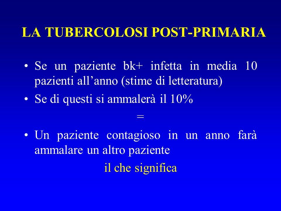 Se un paziente bk+ infetta in media 10 pazienti allanno (stime di letteratura) Se di questi si ammalerà il 10% = Un paziente contagioso in un anno farà ammalare un altro paziente il che significa LA TUBERCOLOSI POST-PRIMARIA
