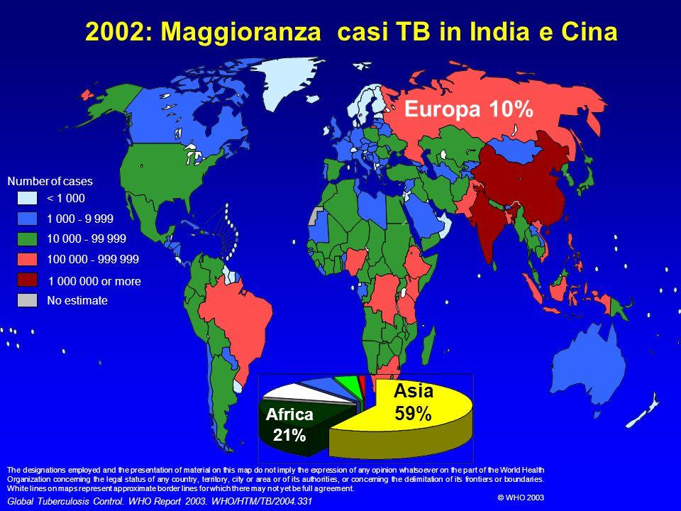 9.4 Estonia Ivanovo (Russia) Latvia Henan (China) Iran Liaoning (China) Domenican Rep 3.1 5 7.8 10.4 9 9.3 12.2 Tomsk (Russia) 13.7 Israel 14.2 6.6 5.3 Ivory Coast 4.9 Ecuador 14.2 Kazakhstan 13.2 Uzbekistan Lithuania Ref: DRS Report #3 (in press) World Health Organization 9.4 PREVALENZA MDR-TB IN NUOVI CASI: 1994-2003 RAMPANTE IN THE EX USSR E CINA