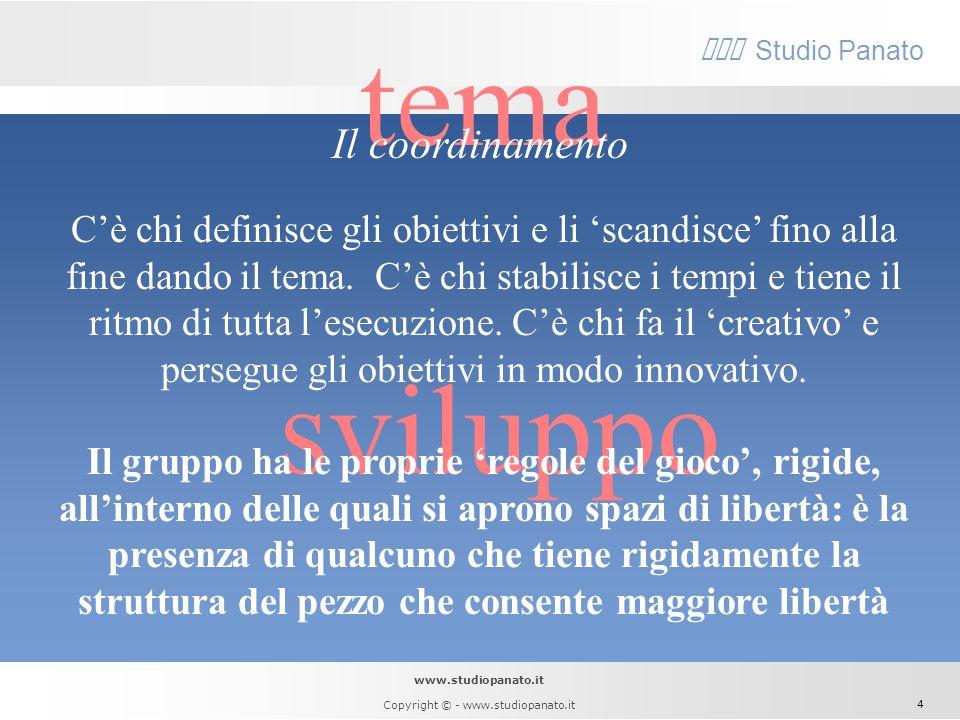 www.studiopanato.it Copyright © - www.studiopanato.it 3 assolo Nel complesso jazz, diversamente dallorchestra di musica classica, il leader trova la s